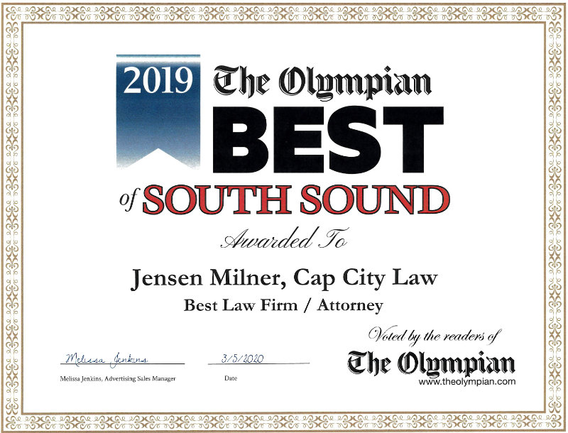 Cap City Law - 2019 Best of the South Sound Award